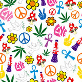 Seamless 60s icons background. Peace, love and happiness Stock Images