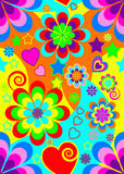 Seamless 70s psychedelic wallpaper. Seamless retro psychedelic background vector illustration reminiscent of the 1960s and 1970s hippie era for greeting cards Stock Images