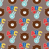 Seamless abc teddy bear pattern vector pattern design animal illustration cartoon fabric baby decoration Royalty Free Stock Photos