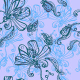 Seamless absrtact background. With flowers and butterflies vector illustration