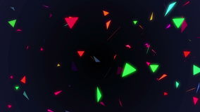Seamless abstract animation geometric confetti triangle flying. Colorful triangle in polygon shape moving and curling background stock footage