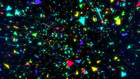 Seamless abstract animation geometric confetti triangle flying like rain. Colorful triangle in polygon shape scene moving. And spinning rotate background for stock footage