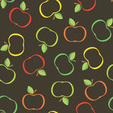 Seamless from abstract apples. Seamless pattern  with apples on the black background.(can be repeated and scaled in any size Royalty Free Stock Photo