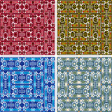 Seamless abstract art pattern set. Seamless colored abstract art pattern set Stock Images