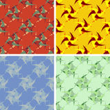 Seamless abstract art pattern set. Seamless colored abstract art pattern set Stock Photo