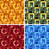 Seamless abstract art pattern set. Seamless colored abstract art pattern set stock illustration