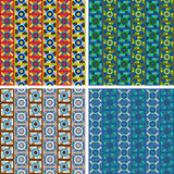 Seamless abstract art pattern set. Seamless colored abstract art pattern set Stock Photography