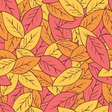 Seamless abstract autumn background with leaves. Seamless abstract autumn ackground with leaves. Vector background with red, orange and yellow falling autumn royalty free illustration