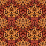 Seamless abstract autumn natural pattern. Ornament with floral elements and decorative pumpkins. Thanksgiving colorful background Royalty Free Illustration