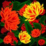 Seamless abstract background with beautiful flowers. For your design royalty free illustration