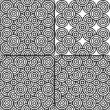 Seamless abstract background of black and white circles. Set of 4 seamless abstract patterns from black and white circles royalty free illustration