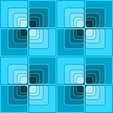 Seamless abstract background with blue checker patterns in minimal design, 3d optical art illusion Stock Image