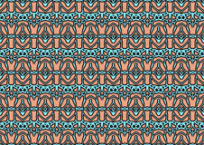 Seamless abstract background in blue and orange tones. Seamless abstract backdrop with ornament from repeated patterns in blue and orange tones, colorful stock illustration