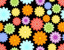 Seamless abstract background with colorful flowers. Seamless abstract background with colorful rainbow flowers on black area stock illustration