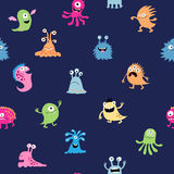 Seamless abstract background with cute cartoon monsters Royalty Free Stock Image