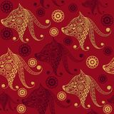 Seamless pattern with the profile of the dog 15 Royalty Free Stock Photo