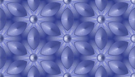 Seamless abstract background - fantastic flowers in hexagonal cells. Color shades of blue. Vector 3D illustration royalty free illustration