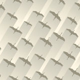 Seamless abstract background flock of cranes. Royalty Free Stock Images