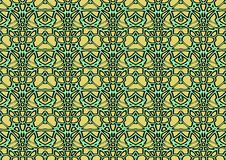 Seamless abstract background in green and yellow tones. Seamless abstract backdrop with ornament from repeated patterns in green and yellow tones, colorful Royalty Free Stock Image