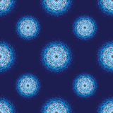 Seamless Abstract Background with Grunge Circles. Blue Fabric Pattern Stock Photo