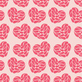 Seamless abstract background of hearts on a pink background. Royalty Free Stock Images