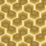 Seamless abstract background with hexagonal element, 3d optical art illusion in gold design Royalty Free Stock Photos