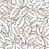 Seamless abstract background with leaves in black on white background. Vector background stock illustration