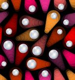 Seamless abstract background with neon objects and metal balls Royalty Free Stock Images