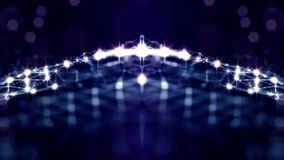 Blue seamless abstract background with particles. Virtual space with depth of field, glow sparkles and digital elements