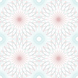 Seamless abstract background pattern with guilloche ornament. Seamless abstract background pattern with blue and pink guilloche rosettes ornament on white vector illustration