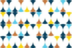 Seamless, abstract background pattern made with circular shapes. In yellow, orange and blue colors. Modern, playful vector art stock illustration