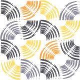 Seamless, abstract background pattern made with repeated brush strokes. Forming quarter circles. Modern, playful art in grey, yellow and orange colors vector illustration