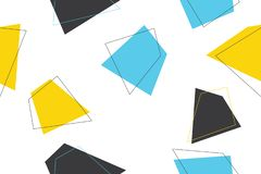 Seamless, abstract background pattern made with trapezoids in blue, yellow and grey colors. stock photos