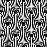 Seamless abstract background pattern. With triangle/circles, strokes and splashes, black and white Stock Illustration