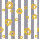 Seamless abstract background. The pattern of the wide gray stripes with golden spirals. Royalty Free Stock Image