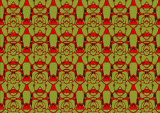 Seamless abstract background in red and green tones. Seamless abstract backdrop with ornament from repeated patterns in red and green tones, colorful background Stock Photos