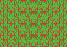 Seamless abstract background in red and green tones. Seamless abstract backdrop with ornament from repeated patterns in red and green tones, colorful background Stock Images