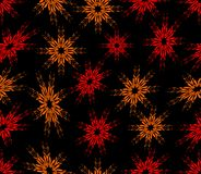 Seamless abstract background with red sprayed flowers. On the black area Stock Photos