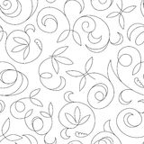 Seamless abstract black floral background isolated Stock Photos