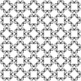 Seamless abstract black texture fractal patterns. On white background. Arranged in a staggered manner two large floral fractal patterns Stock Photo