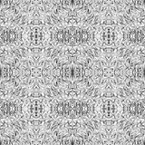 Seamless abstract black and white kaleidoscopic pattern. Wavy hand drawn endless geometric texture Royalty Free Stock Photos