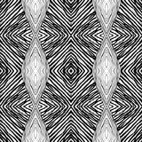 Seamless abstract black and white kaleidoscopic pattern. Wavy hand drawn endless geometric texture royalty free stock image