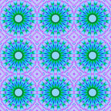 Seamless abstract blue blossoms with green and purple. Abstract geometric seamless background. Regular circles pattern, light blue blossoms with green and purple royalty free illustration
