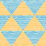 Seamless abstract blue and orange triangles. Colored wooden board.  Stock Images