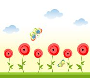 Seamless abstract border with poppies Royalty Free Stock Images