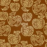 Seamless abstract brown pattern with yellow apples Royalty Free Stock Images