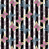 Seamless abstract  with butterflies pattern stylish  stripe background Royalty Free Stock Image