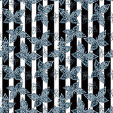Seamless abstract  with butterflies pattern stylish  stripe background Royalty Free Stock Photo