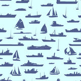 Seamless abstract cartoon background with many ships. Stock Photo