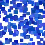 Seamless abstract chaotic square pattern background - vector design from blue squares Royalty Free Stock Image